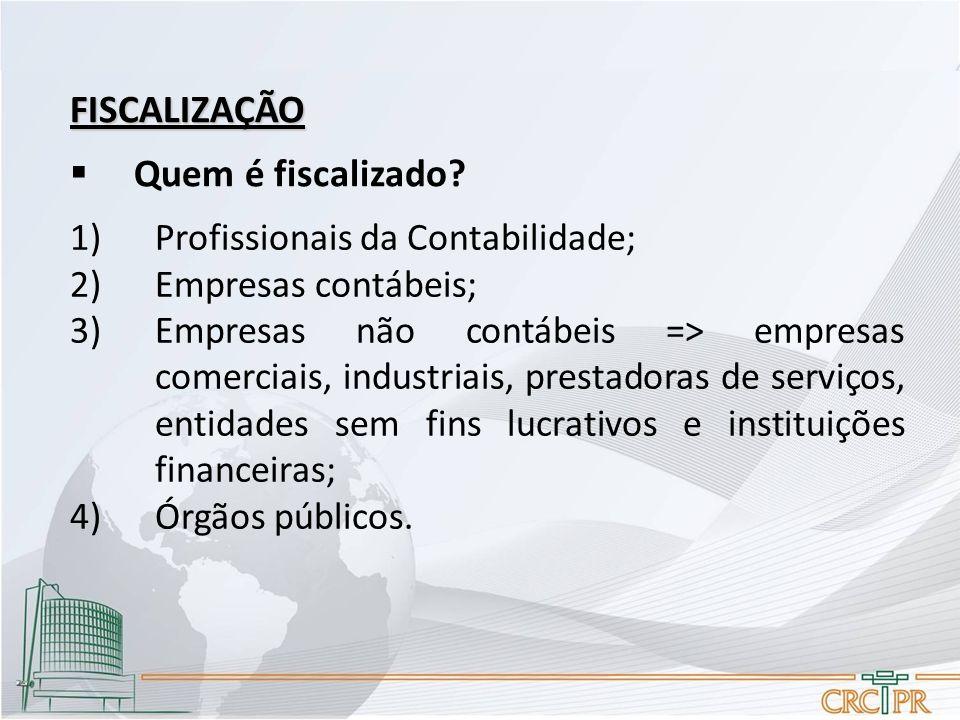 FISCALIZAÇÃO Quem é fiscalizado Profissionais da Contabilidade;