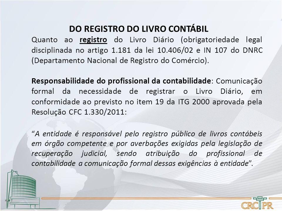 DO REGISTRO DO LIVRO CONTÁBIL