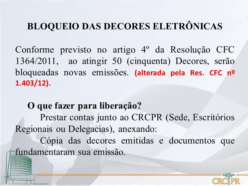 BLOQUEIO DAS DECORES ELETRÔNICAS