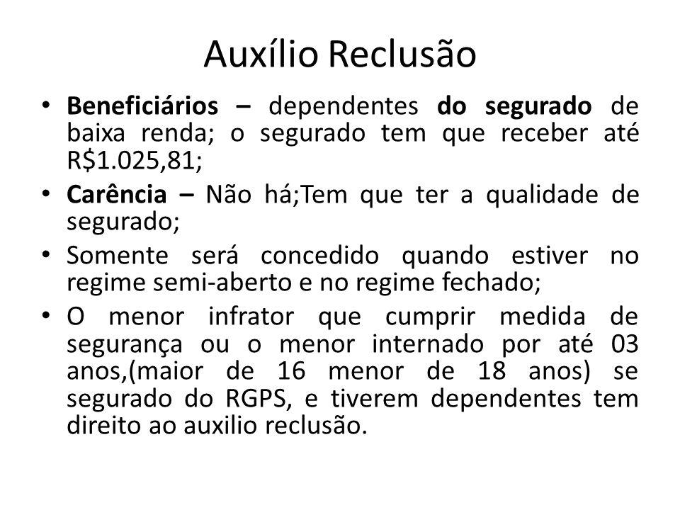 Auxílio Reclusão Beneficiários – dependentes do segurado de baixa renda; o segurado tem que receber até R$1.025,81;