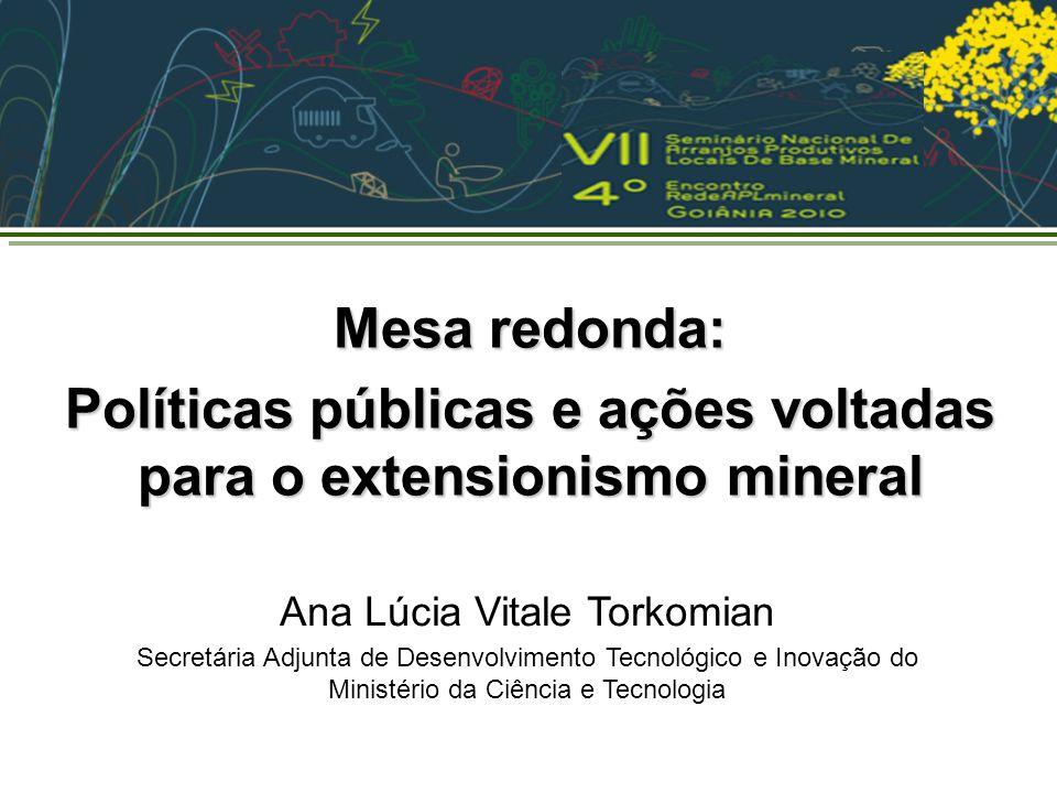 Políticas públicas e ações voltadas para o extensionismo mineral