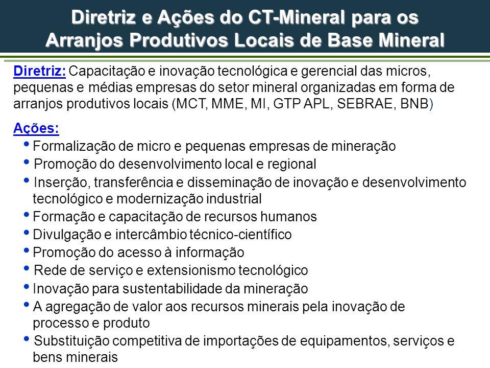 Diretriz e Ações do CT-Mineral para os