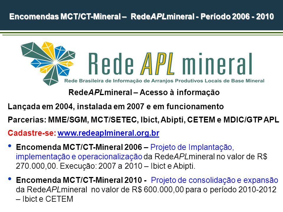 Encomendas MCT/CT-Mineral – RedeAPLmineral - Período 2006 - 2010