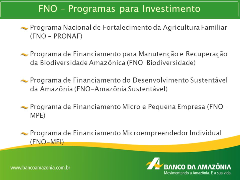 FNO – Programas para Investimento