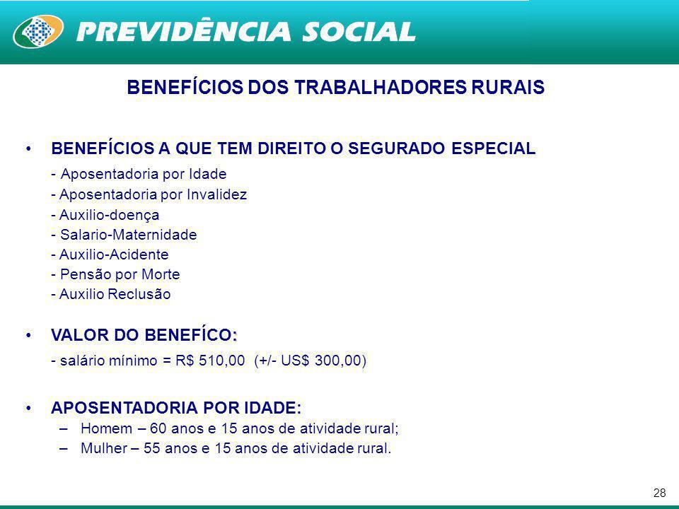 BENEFÍCIOS DOS TRABALHADORES RURAIS