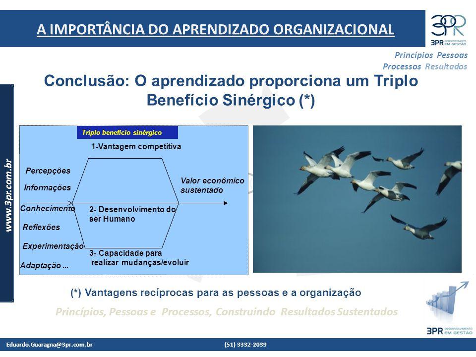 Conclusão: O aprendizado proporciona um Triplo Benefício Sinérgico (*)