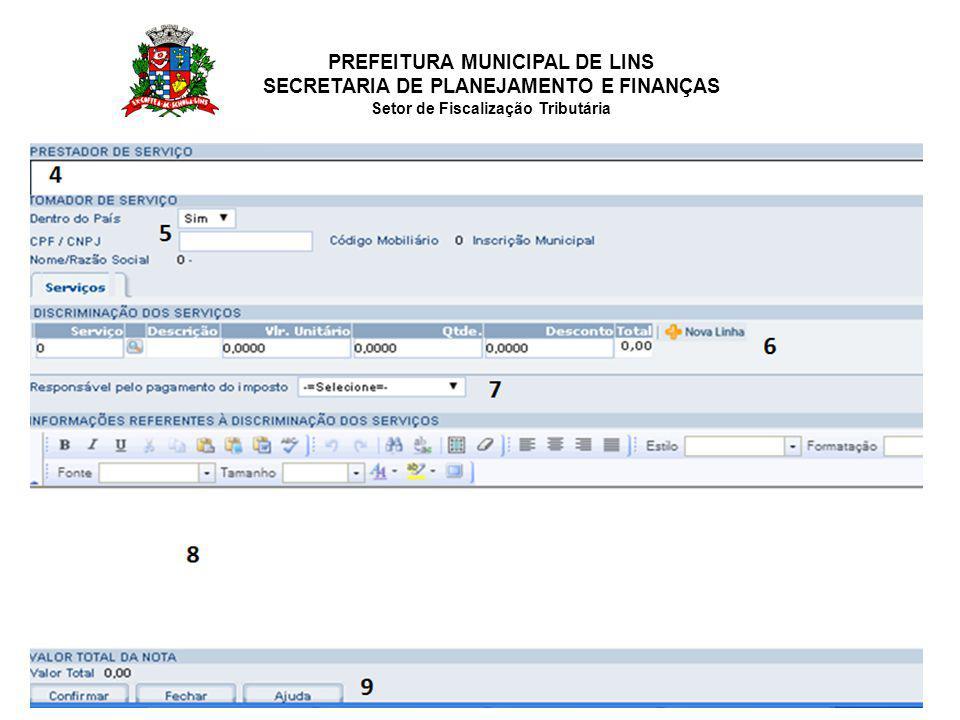 PREFEITURA MUNICIPAL DE LINS SECRETARIA DE PLANEJAMENTO E FINANÇAS