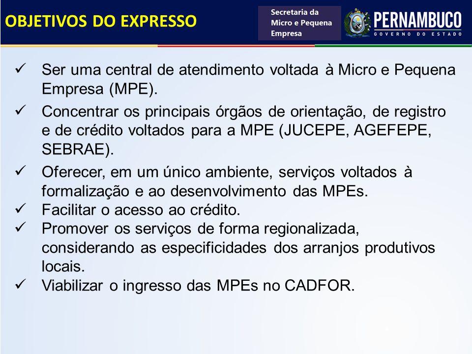 OBJETIVOS DO EXPRESSO Ser uma central de atendimento voltada à Micro e Pequena Empresa (MPE).