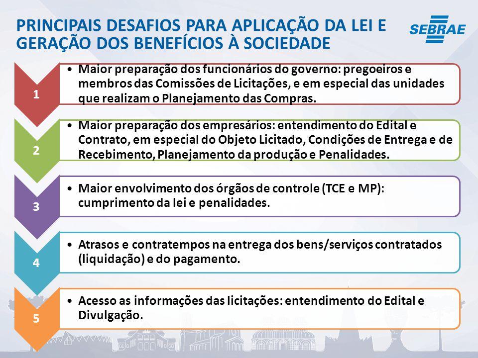 PRINCIPAIS DESAFIOS PARA APLICAÇÃO DA LEI E GERAÇÃO DOS BENEFÍCIOS À SOCIEDADE