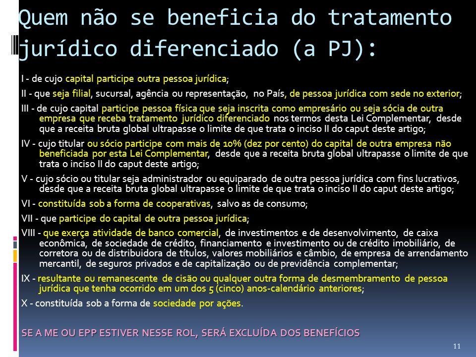 Quem não se beneficia do tratamento jurídico diferenciado (a PJ):