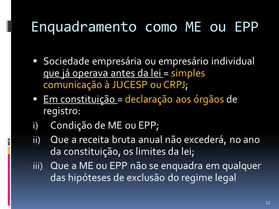Enquadramento como ME ou EPP