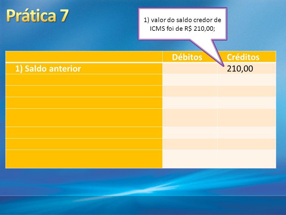 1) valor do saldo credor de ICMS foi de R$ 210,00;