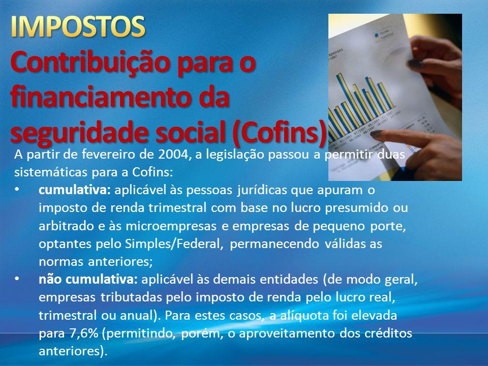 IMPOSTOS Contribuição para o financiamento da seguridade social (Cofins)