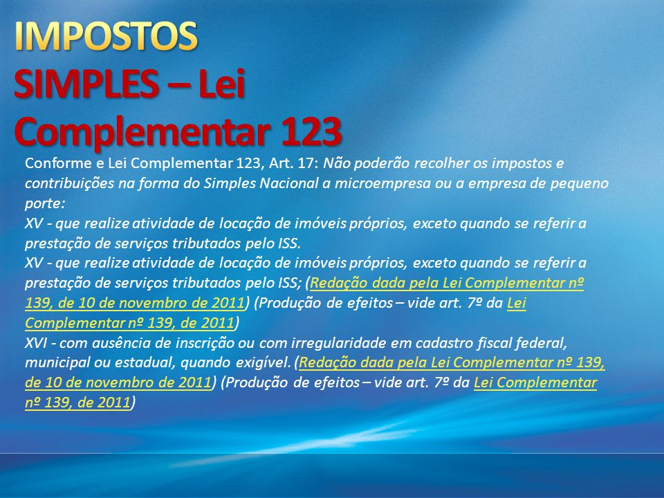 IMPOSTOS SIMPLES – Lei Complementar 123
