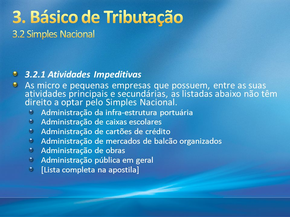 3. Básico de Tributação 3.2 Simples Nacional