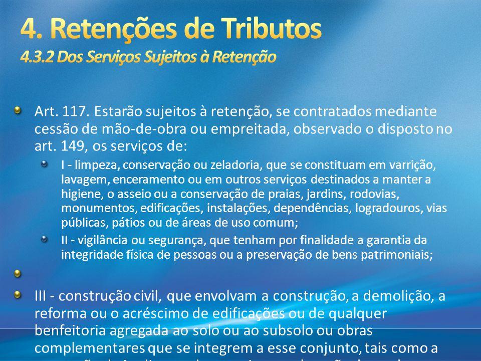 4. Retenções de Tributos 4.3.2 Dos Serviços Sujeitos à Retenção