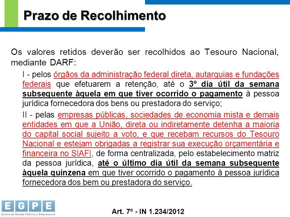 Prazo de Recolhimento Os valores retidos deverão ser recolhidos ao Tesouro Nacional, mediante DARF: