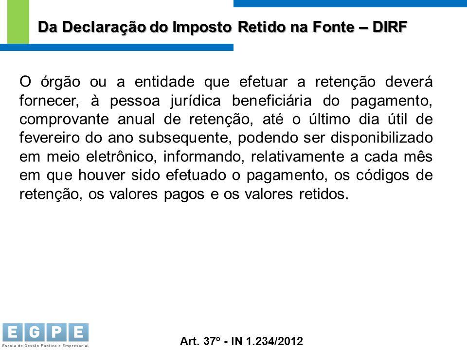 Da Declaração do Imposto Retido na Fonte – DIRF