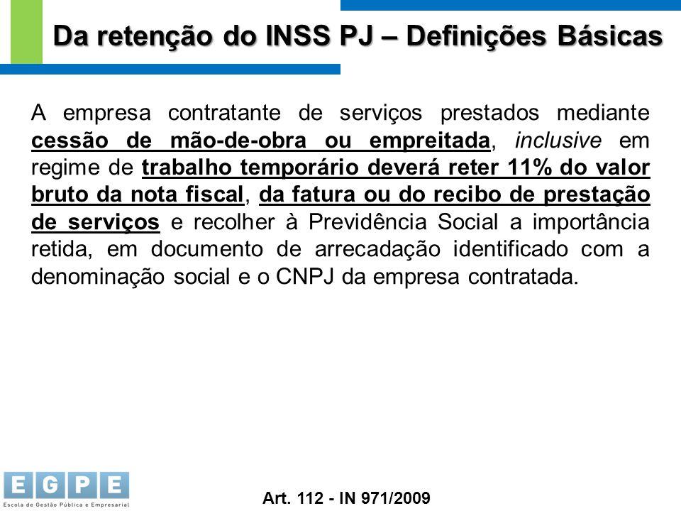 Da retenção do INSS PJ – Definições Básicas