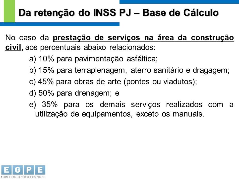 Da retenção do INSS PJ – Base de Cálculo