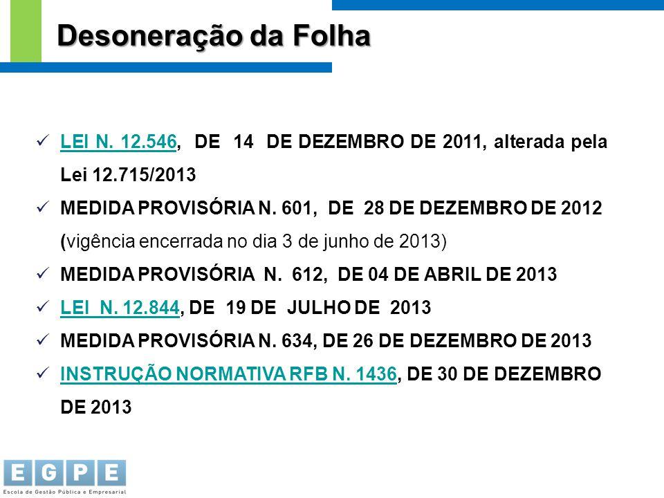 Desoneração da Folha LEI N. 12.546, DE 14 DE DEZEMBRO DE 2011, alterada pela Lei 12.715/2013.