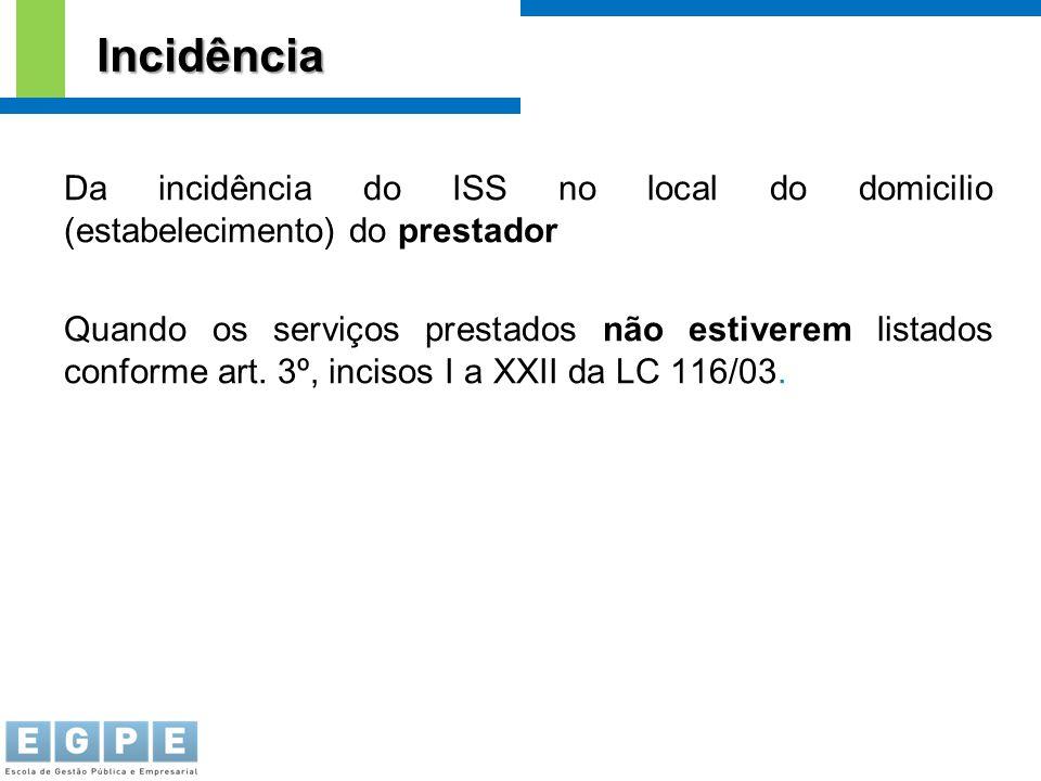Incidência Da incidência do ISS no local do domicilio (estabelecimento) do prestador.