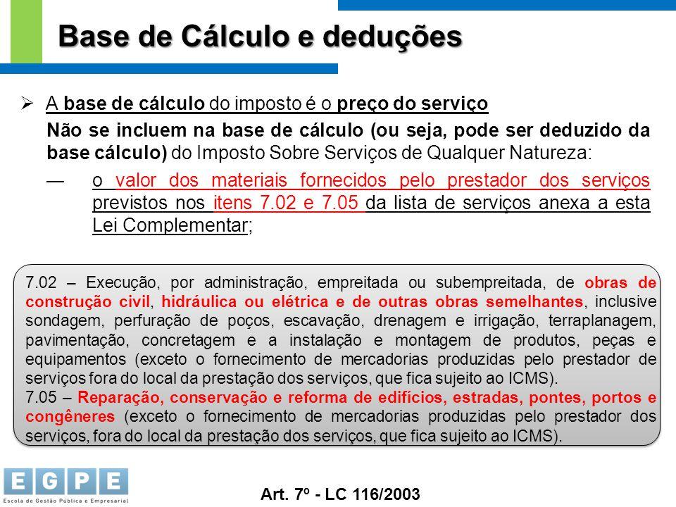 Base de Cálculo e deduções