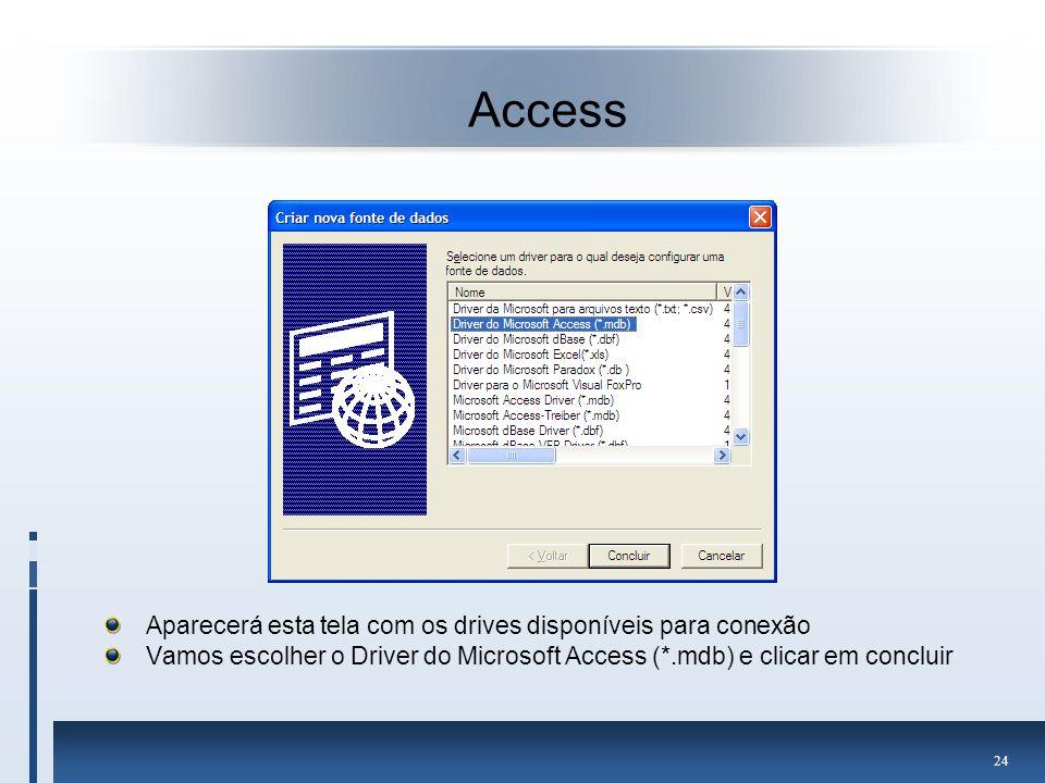 Access Aparecerá esta tela com os drives disponíveis para conexão