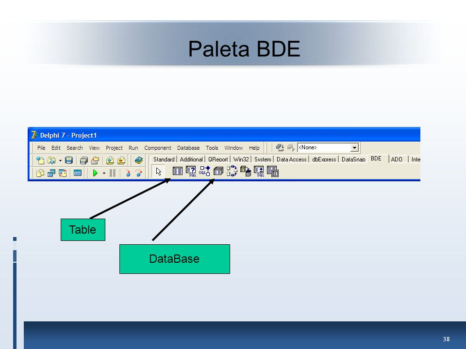 Paleta BDE Table DataBase