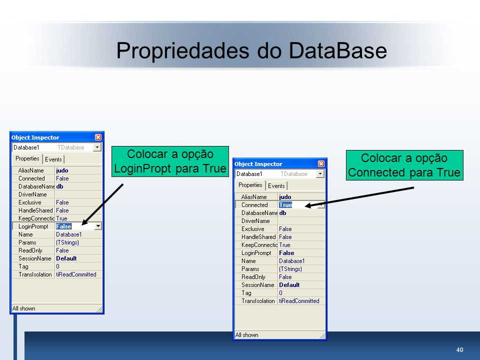 Propriedades do DataBase