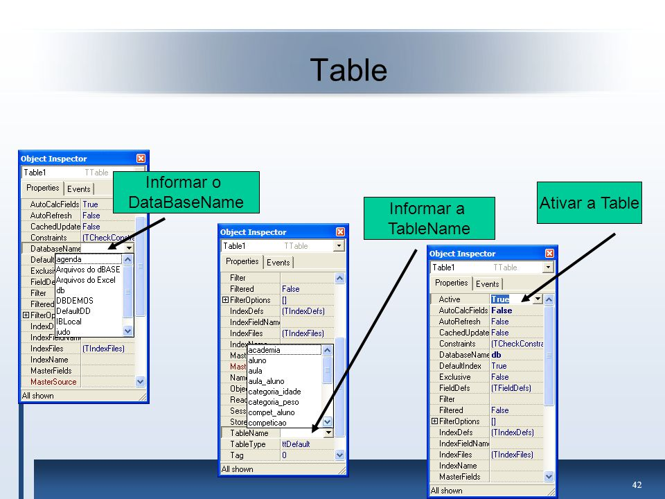 Table Informar o DataBaseName Ativar a Table Informar a TableName