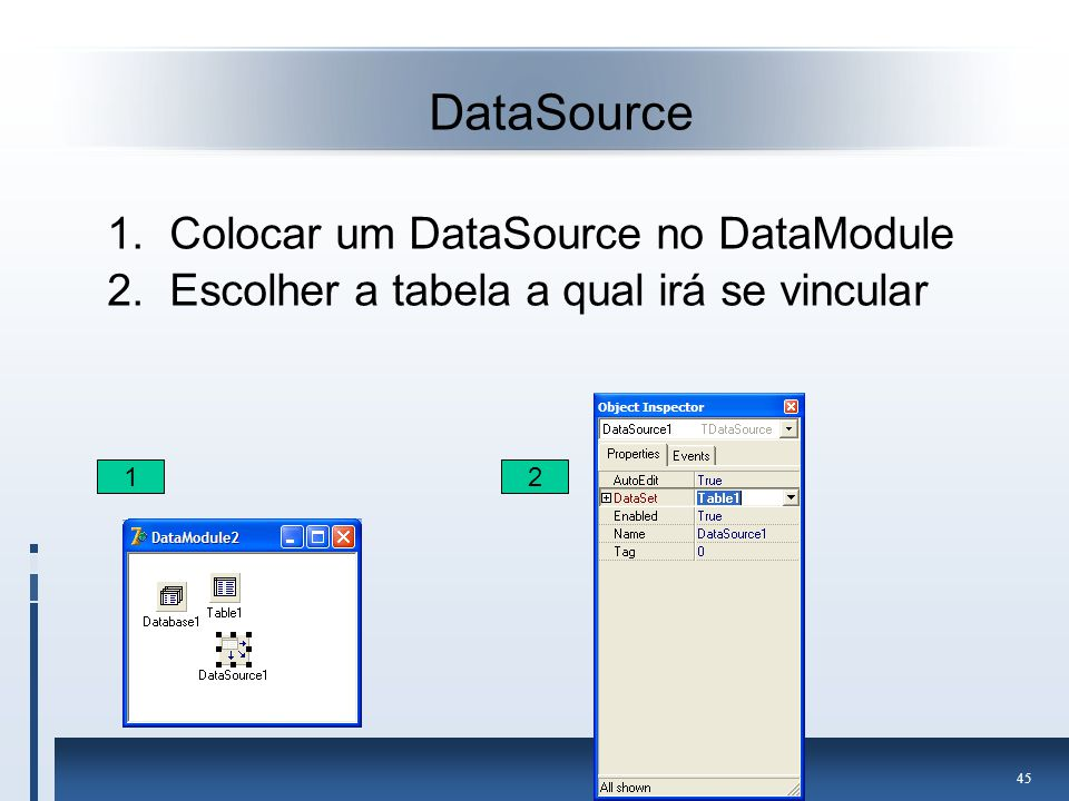 DataSource Colocar um DataSource no DataModule