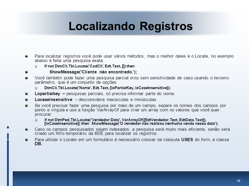 Localizando Registros