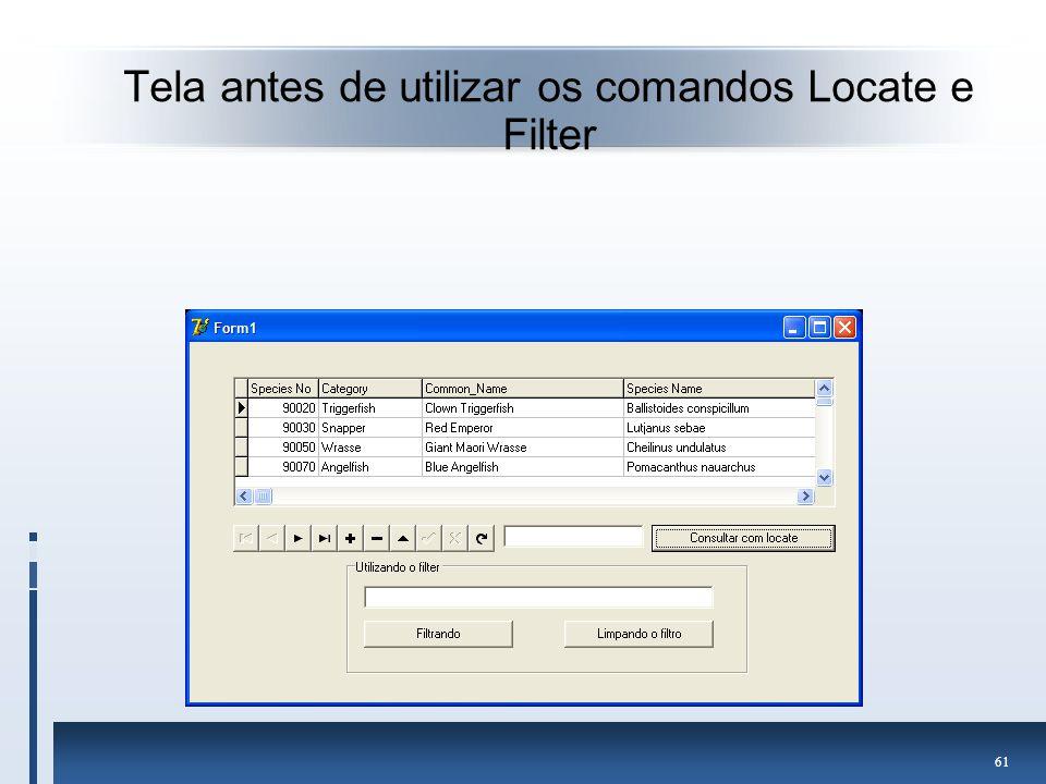 Tela antes de utilizar os comandos Locate e Filter