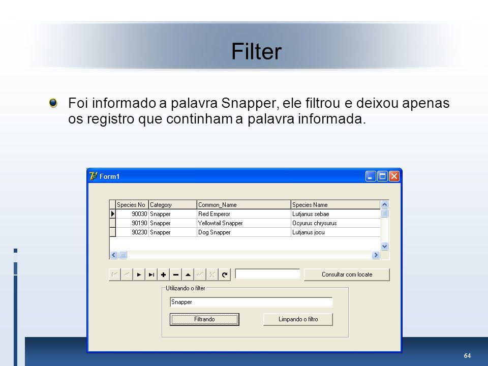 Filter Foi informado a palavra Snapper, ele filtrou e deixou apenas os registro que continham a palavra informada.