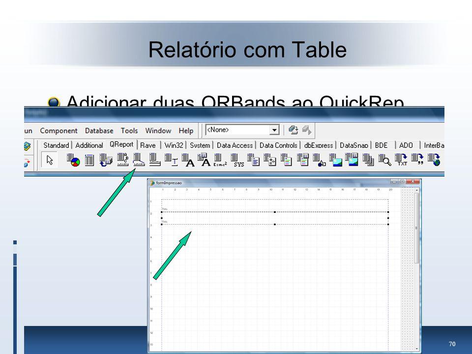 Relatório com Table Adicionar duas QRBands ao QuickRep