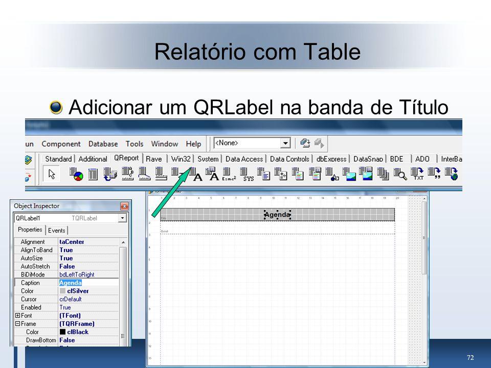 Relatório com Table Adicionar um QRLabel na banda de Título