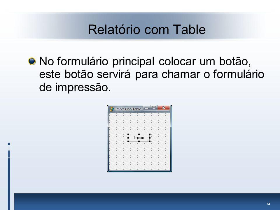 Relatório com Table No formulário principal colocar um botão, este botão servirá para chamar o formulário de impressão.