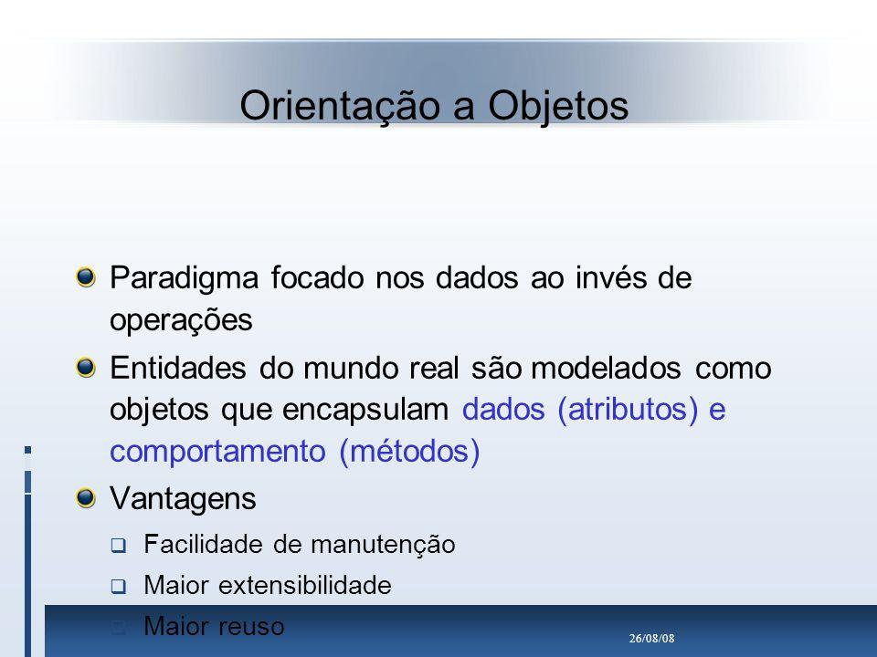 Orientação a Objetos Paradigma focado nos dados ao invés de operações