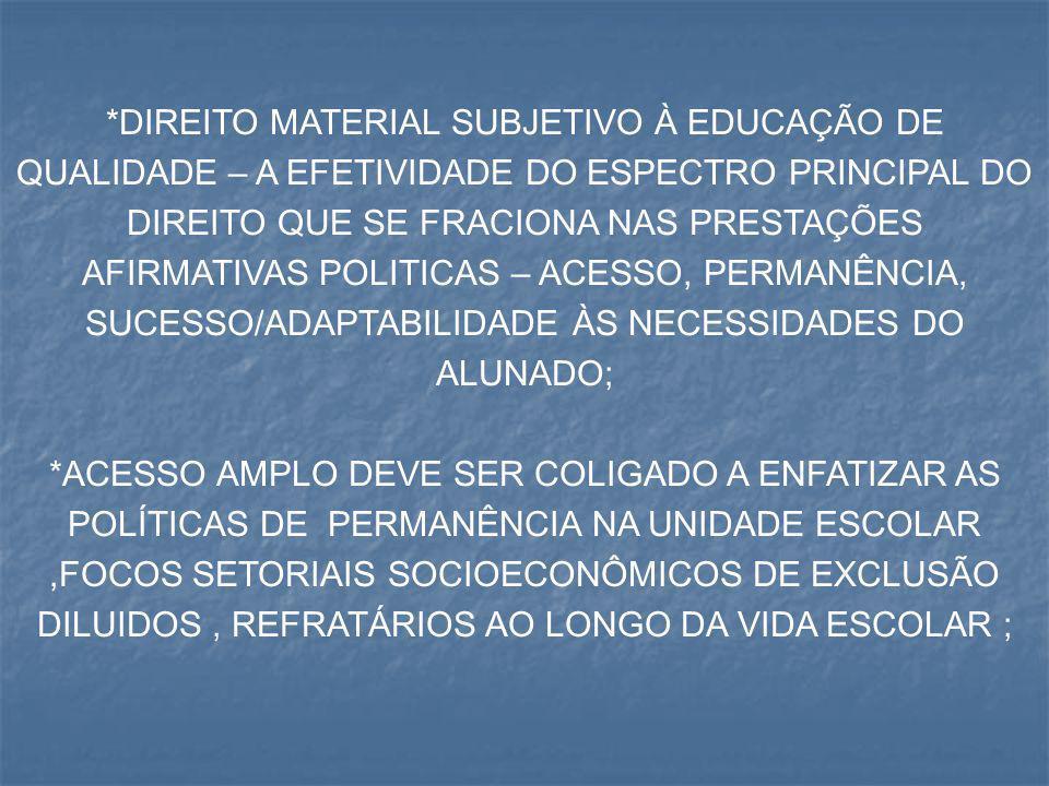 *DIREITO MATERIAL SUBJETIVO À EDUCAÇÃO DE QUALIDADE – A EFETIVIDADE DO ESPECTRO PRINCIPAL DO DIREITO QUE SE FRACIONA NAS PRESTAÇÕES AFIRMATIVAS POLITICAS – ACESSO, PERMANÊNCIA, SUCESSO/ADAPTABILIDADE ÀS NECESSIDADES DO ALUNADO;