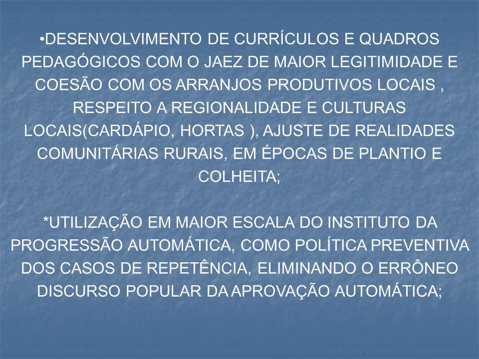 DESENVOLVIMENTO DE CURRÍCULOS E QUADROS PEDAGÓGICOS COM O JAEZ DE MAIOR LEGITIMIDADE E COESÃO COM OS ARRANJOS PRODUTIVOS LOCAIS , RESPEITO A REGIONALIDADE E CULTURAS LOCAIS(CARDÁPIO, HORTAS ), AJUSTE DE REALIDADES COMUNITÁRIAS RURAIS, EM ÉPOCAS DE PLANTIO E COLHEITA;