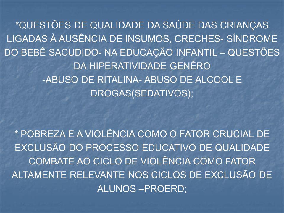 ABUSO DE RITALINA- ABUSO DE ALCOOL E DROGAS(SEDATIVOS);