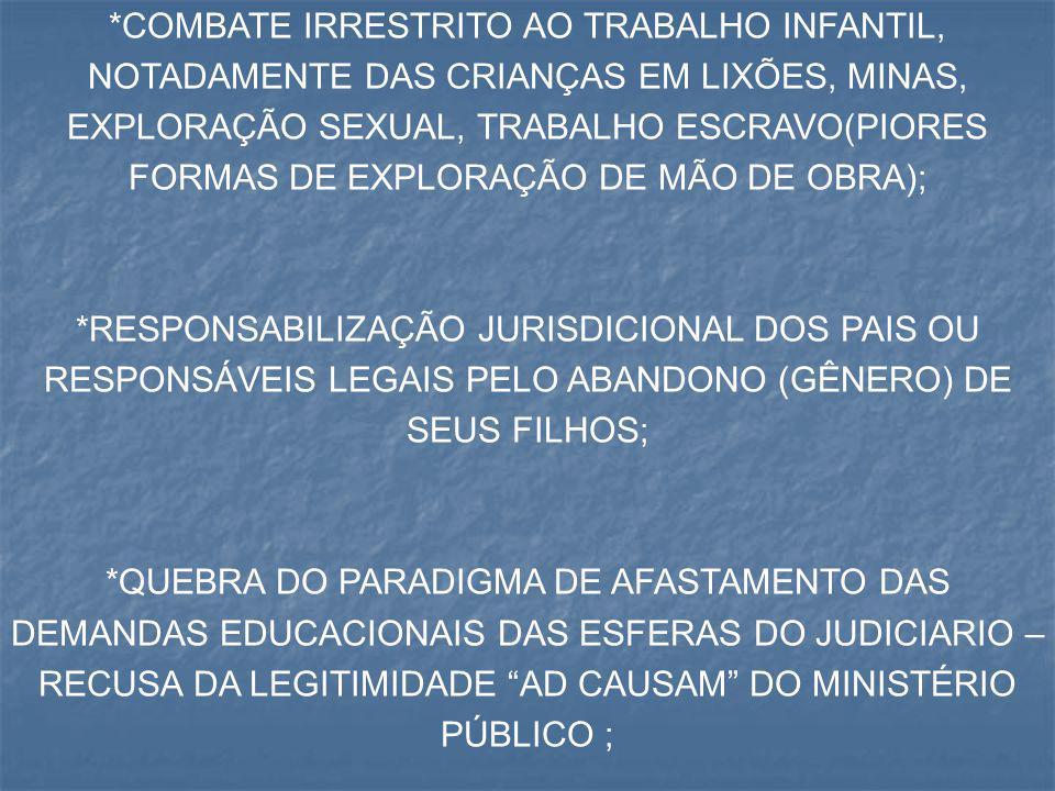 *COMBATE IRRESTRITO AO TRABALHO INFANTIL, NOTADAMENTE DAS CRIANÇAS EM LIXÕES, MINAS, EXPLORAÇÃO SEXUAL, TRABALHO ESCRAVO(PIORES FORMAS DE EXPLORAÇÃO DE MÃO DE OBRA);