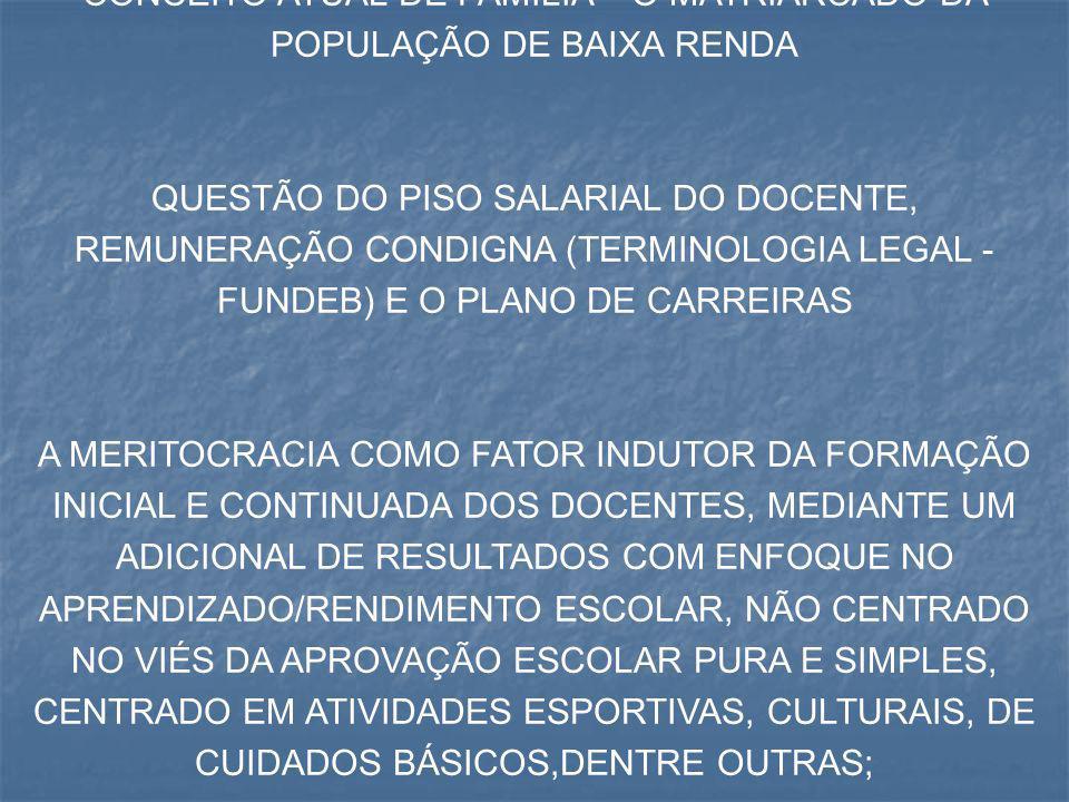 CONCEITO ATUAL DE FAMÍLIA – O MATRIARCADO DA POPULAÇÃO DE BAIXA RENDA
