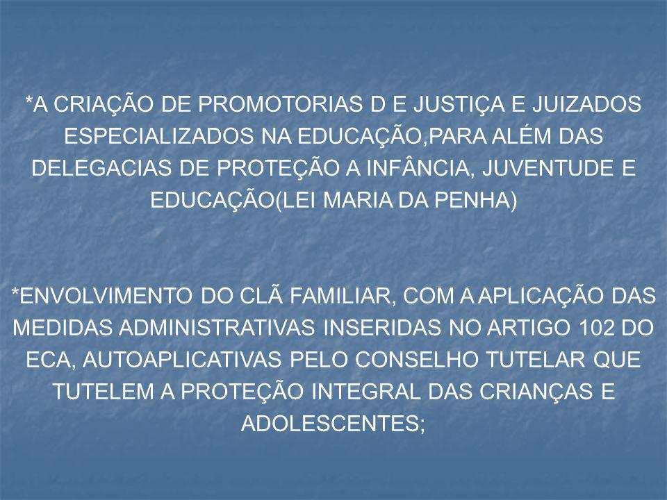 *A CRIAÇÃO DE PROMOTORIAS D E JUSTIÇA E JUIZADOS ESPECIALIZADOS NA EDUCAÇÃO,PARA ALÉM DAS DELEGACIAS DE PROTEÇÃO A INFÂNCIA, JUVENTUDE E EDUCAÇÃO(LEI MARIA DA PENHA)
