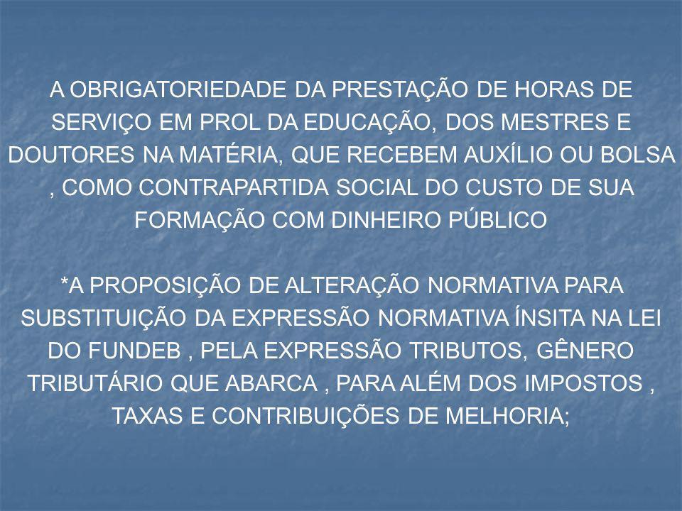 A OBRIGATORIEDADE DA PRESTAÇÃO DE HORAS DE SERVIÇO EM PROL DA EDUCAÇÃO, DOS MESTRES E DOUTORES NA MATÉRIA, QUE RECEBEM AUXÍLIO OU BOLSA , COMO CONTRAPARTIDA SOCIAL DO CUSTO DE SUA FORMAÇÃO COM DINHEIRO PÚBLICO