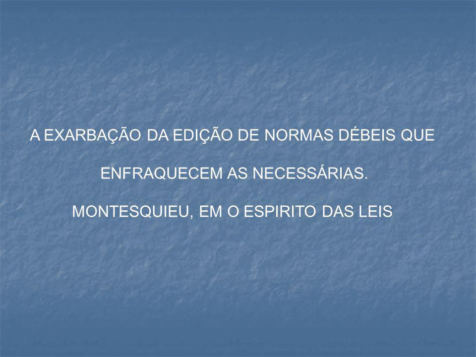 A EXARBAÇÃO DA EDIÇÃO DE NORMAS DÉBEIS QUE ENFRAQUECEM AS NECESSÁRIAS.