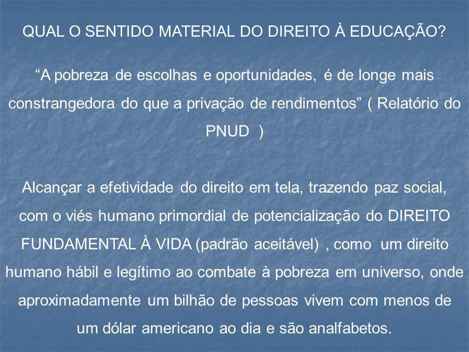 QUAL O SENTIDO MATERIAL DO DIREITO À EDUCAÇÃO