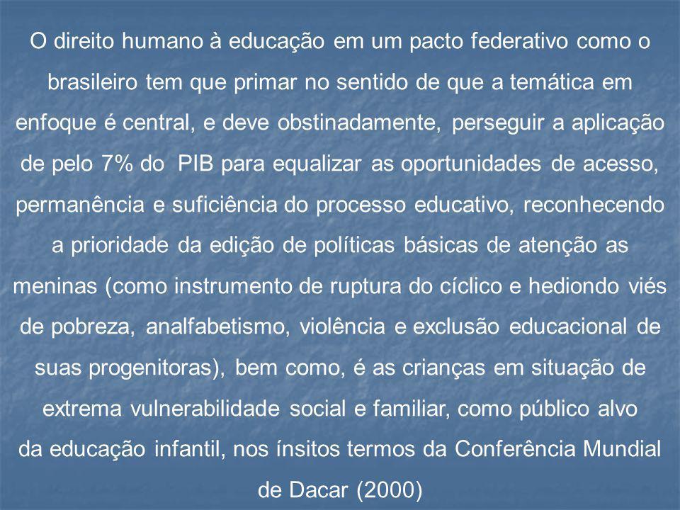 O direito humano à educação em um pacto federativo como o brasileiro tem que primar no sentido de que a temática em enfoque é central, e deve obstinadamente, perseguir a aplicação de pelo 7% do PIB para equalizar as oportunidades de acesso, permanência e suficiência do processo educativo, reconhecendo a prioridade da edição de políticas básicas de atenção as meninas (como instrumento de ruptura do cíclico e hediondo viés de pobreza, analfabetismo, violência e exclusão educacional de suas progenitoras), bem como, é as crianças em situação de extrema vulnerabilidade social e familiar, como público alvo