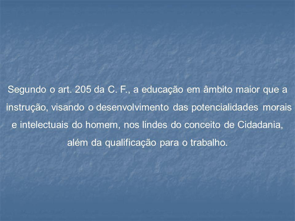 Segundo o art. 205 da C. F., a educação em âmbito maior que a